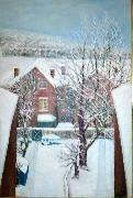 Anita Ree Wimbledon snowscape oil painting